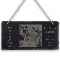 Targa in pietra Ardesia 10x20cm personalizzata con foto lastra da appendere