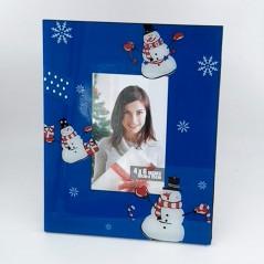Cornice Natalizia portafoto in vetro 10x15 blu con pupazzi di neve