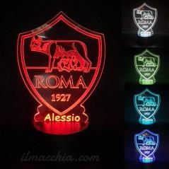 Lampada led multicolore squadra di Calcio Roma personalizzabile