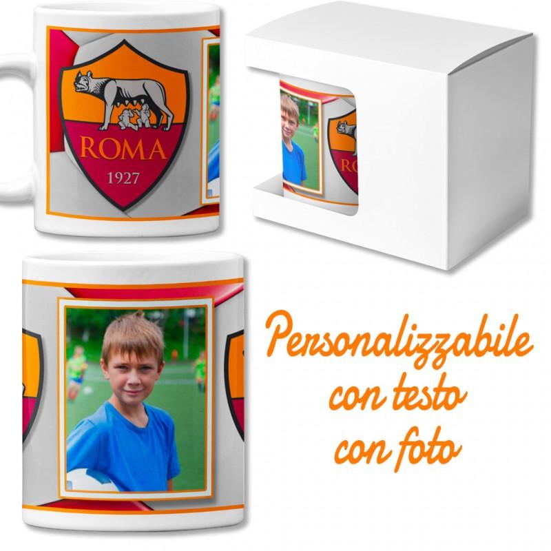 Tazza in ceramica squadra del cuore personalizzata con foto calcio Roma