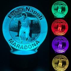 Lampada Calcio Napoli con Maradona luce led multicolore