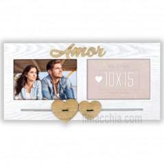 Cornice per 2 foto 10x15 Amor con cuori Portafoto San Valentino