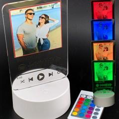 Lampada led personalizzata con foto e codice spotify multicolore