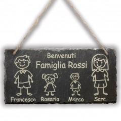Targa Ardesia Famiglia 10x20cm lastra personalizzata con nomi disegni