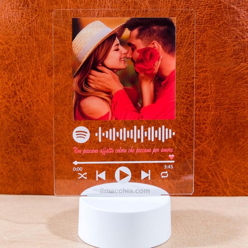 Lampada led personalizzata con foto e codice spotify luce multicolore