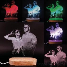 Lampada con taglio e incisione personalizzata con foto luce Led multicolore 3d