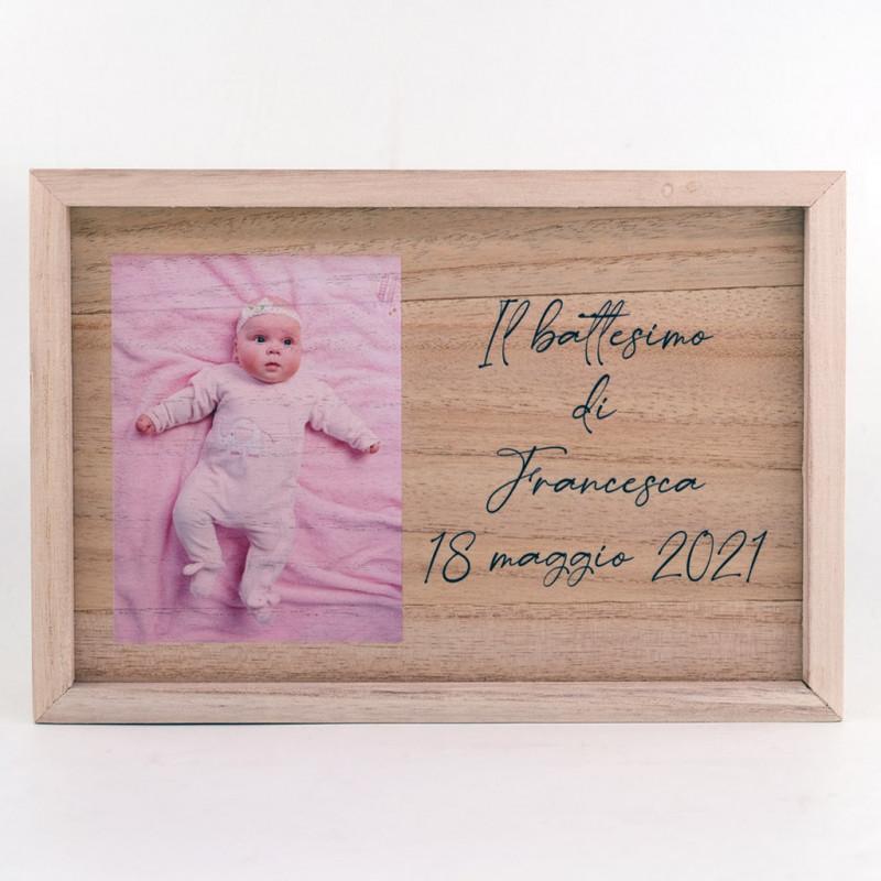 Scatola porta foto e pennetta usb personalizzata box portafoto in legno