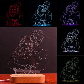 Lampada personalizzata con foto incisione e taglio laser Led multicolore 3d