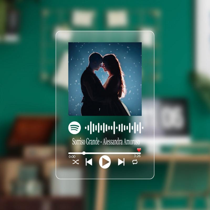 Targa musicale spotify code personalizzata in plexiglass con foto musica dedica