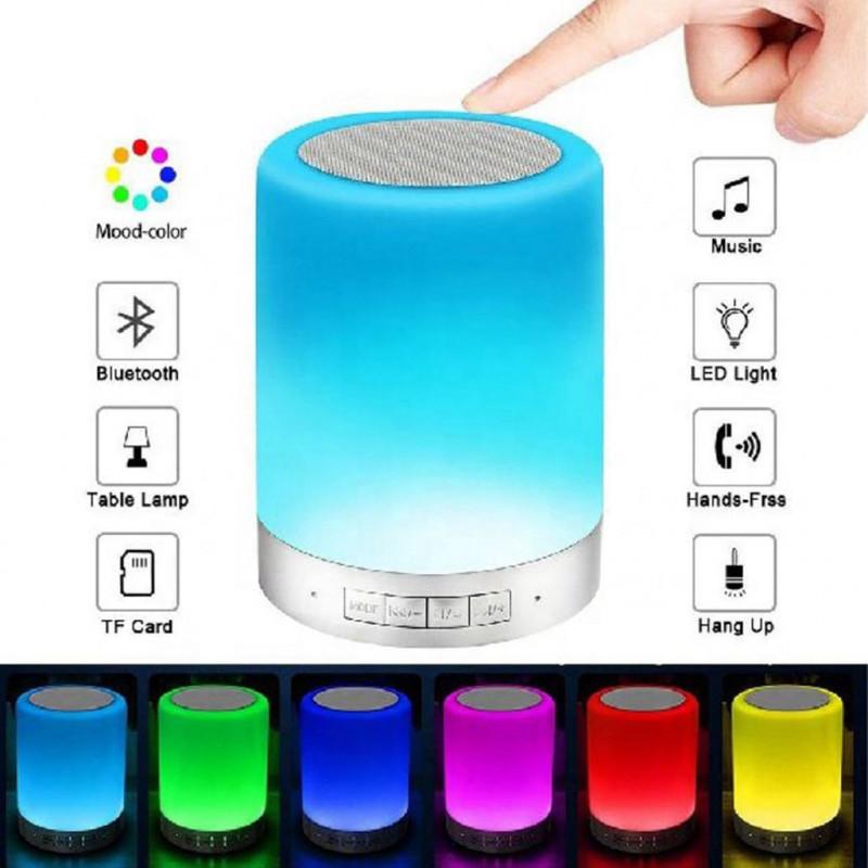 Lampada led portatile con altoparlante Bluetooth Wireless USB Smart Touch luce notturna